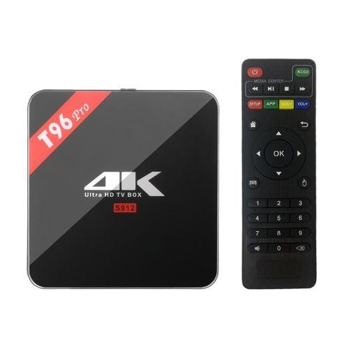 Achetez le meilleur eu T96 Pro Android intelligente 6.0 TV Box Amlogic S912 Octa-core 64 bits 2 Go / 16 Go KODI 16,1 XBMC VP9 HDR10 H.265 UHD 4K Mini PC 2.4G & 5G WiFi 1000M LAN Miracast Bluetooth 4.1 HD Media Player Plug-UE de Tomtop.com. Achetez pas cher et de qualité Boîtes de télévision Android et accessoires en ligne, divers rabais vous attendent