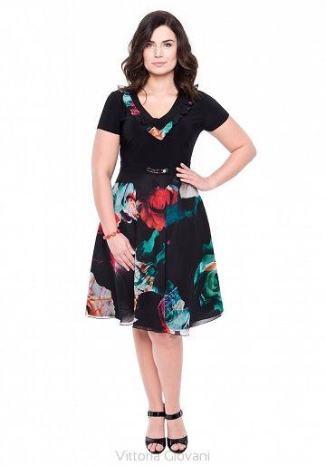 SUKIENKA PLUS SIZE DANZA - Vittoria Giovani - Sukienki dla Puszystych – Sukienki Duże Rozmiary – Sukienki XXL