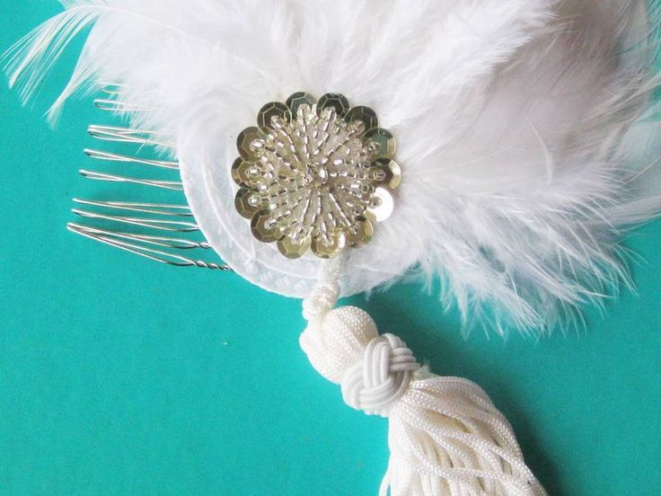 Bridal silver and retro drop on comb Fascinator headpiece