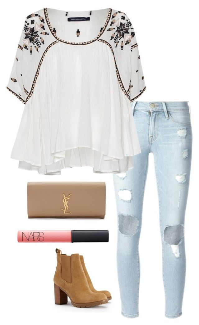 """""""ripped jeans"""" by helenhudson1 ❤ liked on Polyvore featuring Frame Denim, French…"""