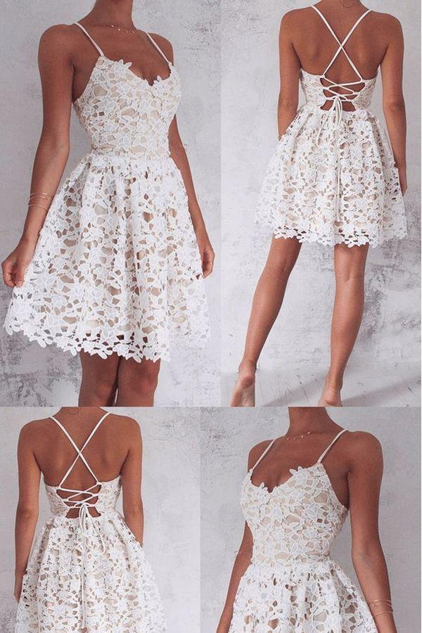 Short Mini Homecoming Dresses, Ivory Mini Prom Dresses Sweet Dresses #homecomingdresses #sweetdresses #promdresses #partydresses
