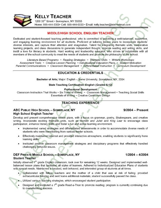 Teachers Resume Template. Resume Samples For Teachers Job - Best ...