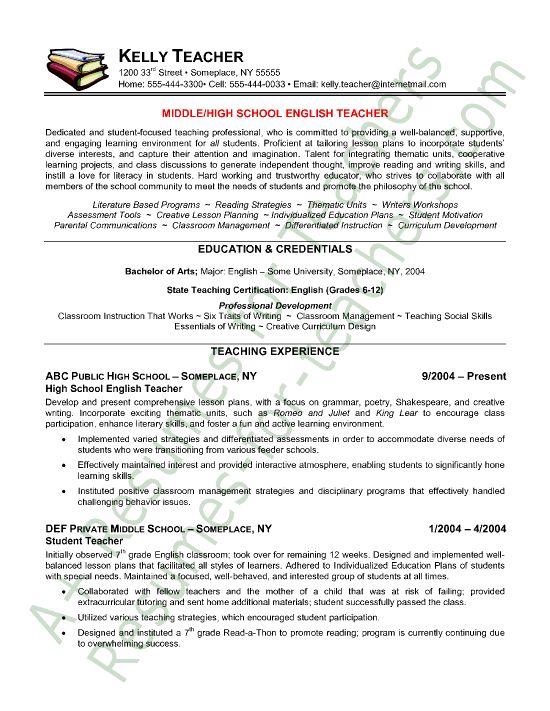 secondary english teacher resume examples