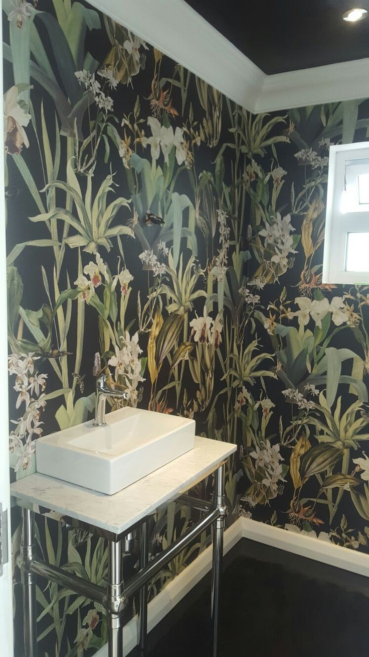 Soil Design's new Botanical range is stunning, this Orchid design on a black background works beautifully in the small bathroom.