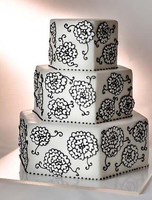 black & white : love this cake : yum :: White Flower, Black Wedding Cake, Embroidery Pattern, White Wedding Cake, Fancy Cake, Black White, Wedding Cakes, Decor Cake, Flower Cake