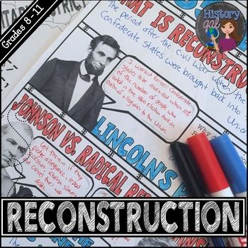 Looking for a fun way to review Reconstruction? These doodle notes cover the major points of Reconstruction from 1865-1877 in 2 pages. They are perfect for an end of unit review or mid-term or final exam review and a great background if your course picks up with American history from 1877.