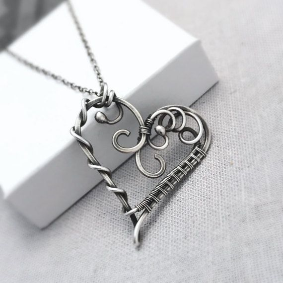 Sterling Silver Heart Necklace | Antique Silver Artisan Heart Pendant | Gifts for Her | Unique Heart Jewellery | Silver Jewellery UK
