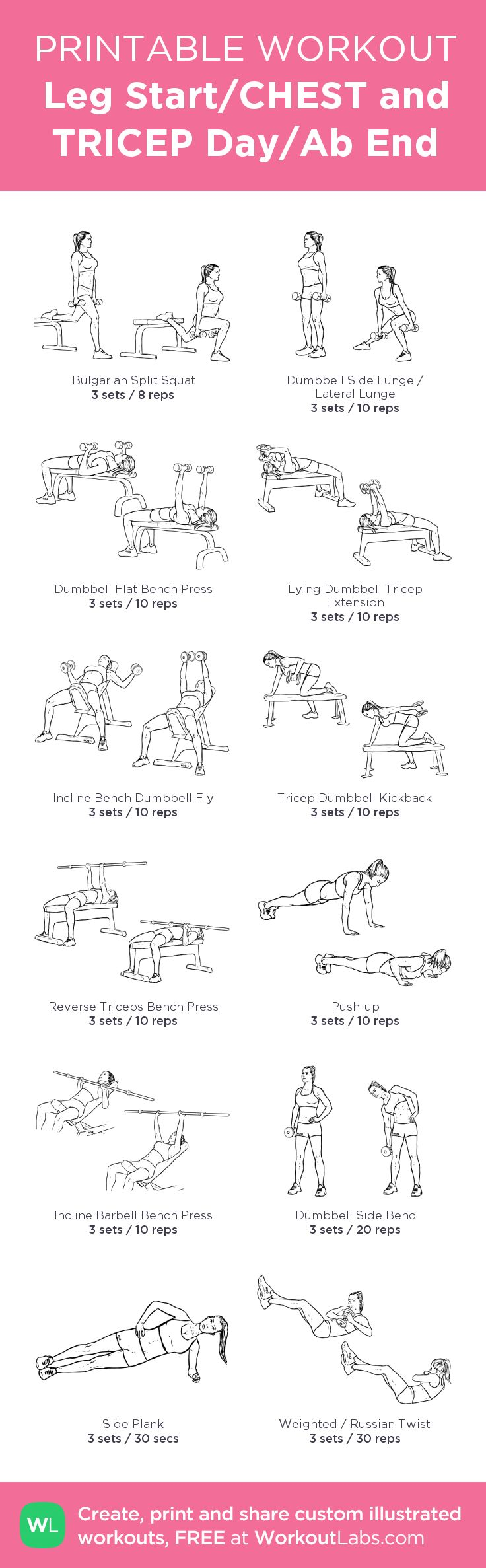 Leg Start/CHEST and TRICEP Day/Ab End:my visual workout created at WorkoutLabs.com • Click through to customize and download as a FREE PDF! #customworkout