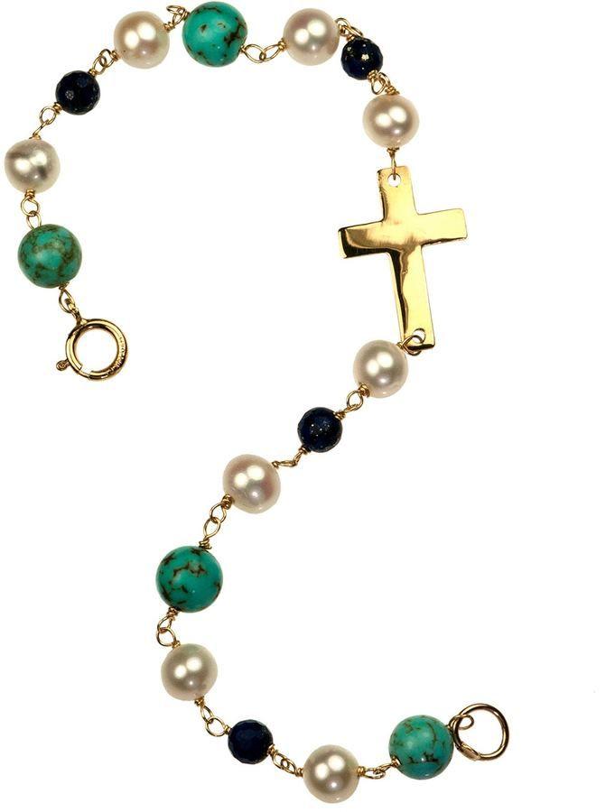 Xanthe Marina - Turquoise Lapis Lazuli Cross Bracelet