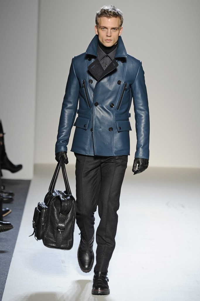 Mens Blue Leather Jacket Spring Runway 2013 Men Fashion Pinterest Blue Leather