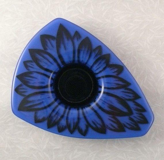 Ikebana Japanese Βάζο Λιωμένο γυαλί με Cobalt από ToltRiverStudios