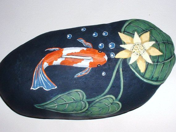 86 best images about painted river rocks on pinterest for Koi fish pond rocks
