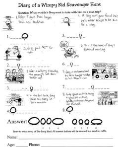 Diary of a Wimpy Kid Scavenger Hunt. Complete with ballot and clues. Perfect for the Long Haul release party!