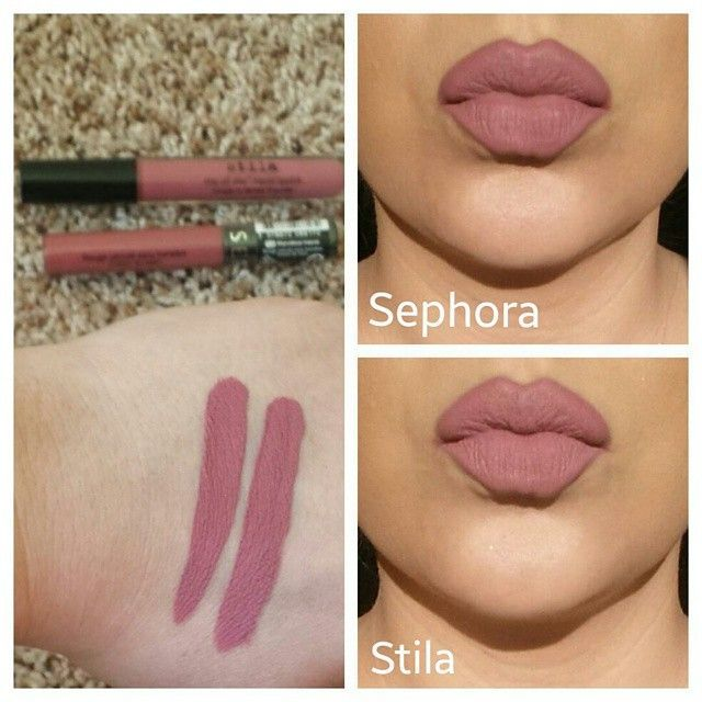 Makeup Dupe: Here is a comparison of the new @Sephora Cream Lip Stain in Marvelous Mauve to @Stila Cosmetics Stay All Day liquid lipstick in Patina. Swathed on the left is Marvelous Mauve and to the right is Patina. You can definitely see that they are almost the same however Marvelous Mauve is a bit more mauve and Patina has a little more pink in it. Only a beauty junkie can really tell the slight difference in color. The Sephora Cream Lip Stain cost $13 as to the Stila Stay All Day liqui