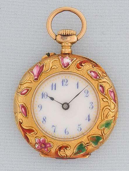 Art Nouveau Gold Enamel and Diamond Pendant Watch - Bogoff Antique Pocket Watch # 7054