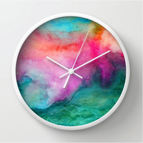 Watercolor wall clock, modern home decor, watercolor design clock, colorful…