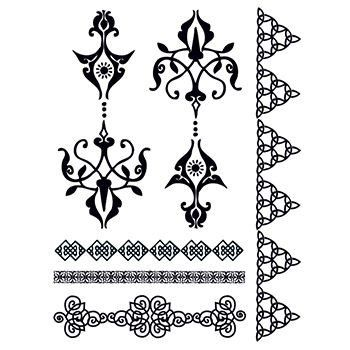 Classic henna tattoo placement is often on the backs of the hands and tops of the feet. Bypass all of the mess of henna with these temporary tattoos of classic henna patterns. Size: 4.5 x 6 in. Easy a