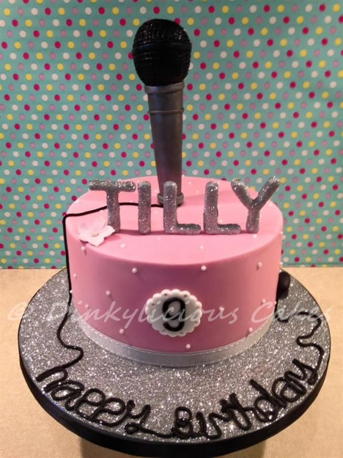 Glitter/ Bling/ Microphone cake - Cake by Dinkylicious Cakes