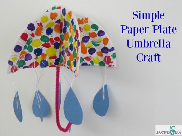 how to make an umbrella craft using a paper plate. letter u activity Paper plate ideas and activities for kids