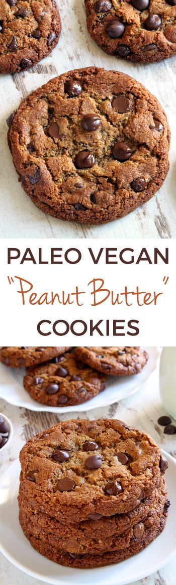 """These paleo """"peanut butter"""" cookies use sunflower seed butter and have a crisp edge and chewy center! Has a vegan option. Includes a video."""