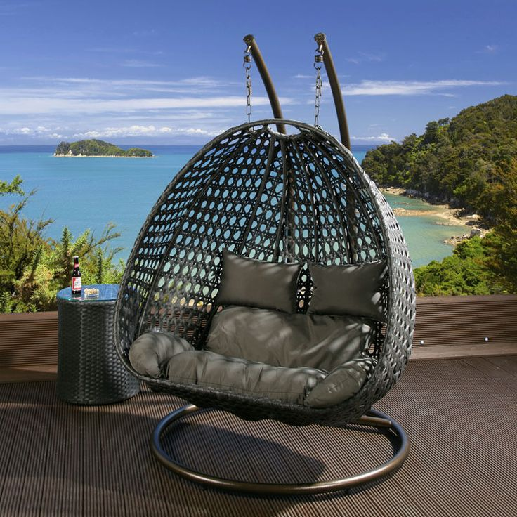 Outdoor 2 Person Garden Hanging Chair Black Rattan Grey Cushions 2014