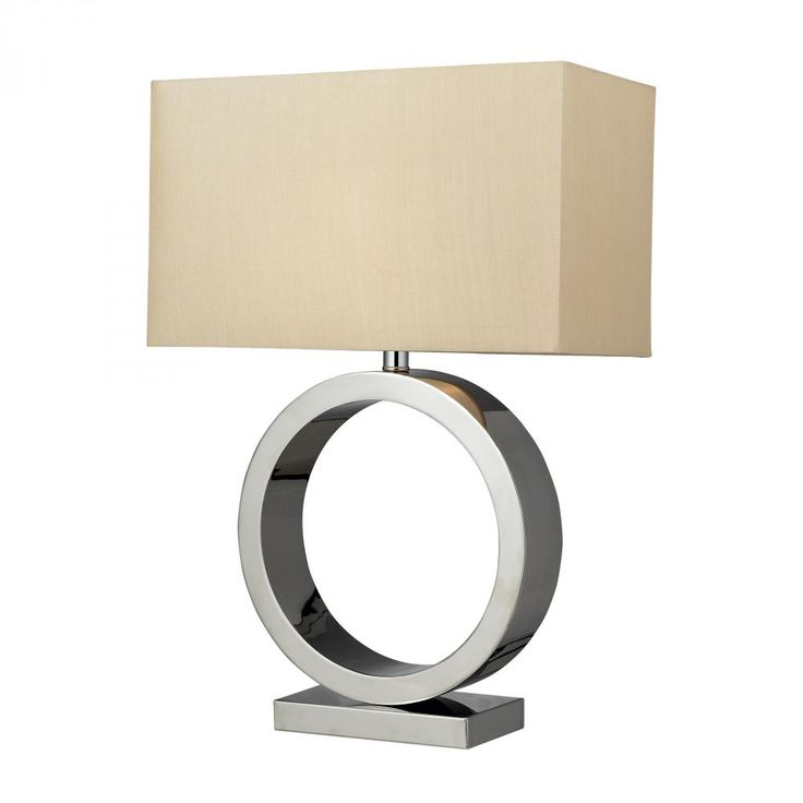 The chrome, circle base of the Aurora lamp by Diamond comes with a geometric light gold shade. A transitional piece to illuminate a large living room or master bedroom!