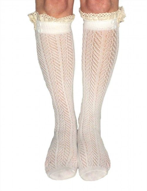 12.95$  Watch now - http://viklk.justgood.pw/vig/item.php?t=u6vtcf5352 - Women's Ivory Button Boot Socks With Lace Trim, Crochet Lace Button Boot Socks, gift