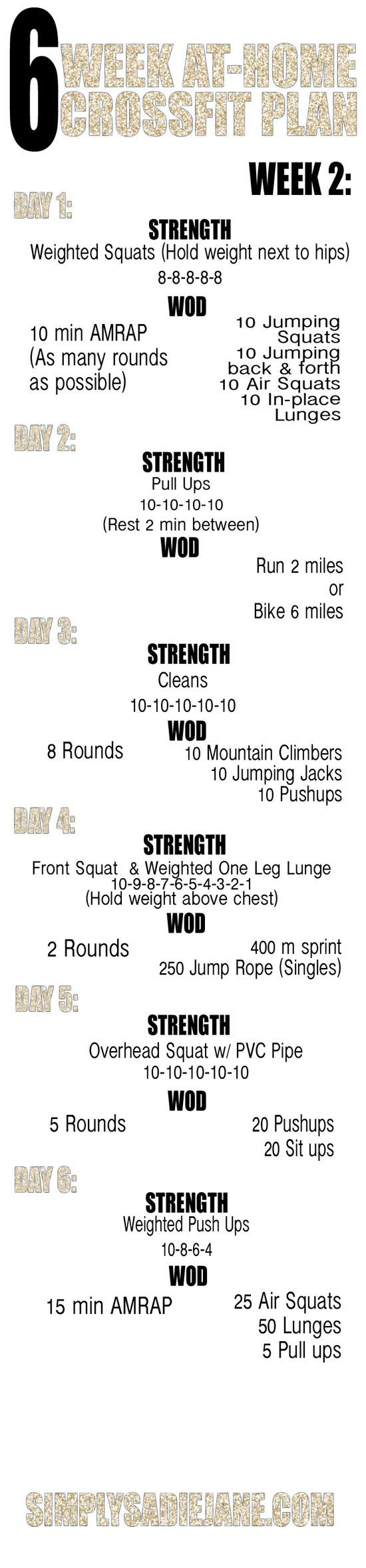 WEEK 2: 6 WEEK AT-HOME CROSSFIT INSPIRED #exercise #physical exertion #Workout #Workout Exercises| http://exercising.lemoncoin.org