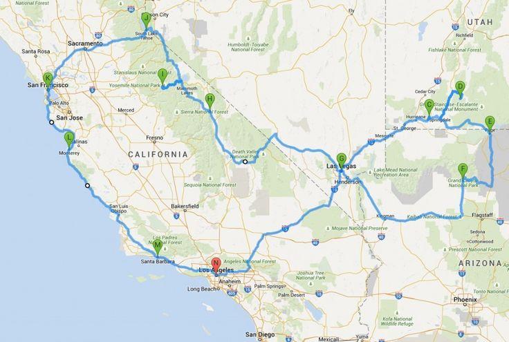 Große Rundreise ohne San Diego: Kompakte Rundreise Westküste USA: hier findet Ihr kurze und lange Reiserouten in Kalifornien...
