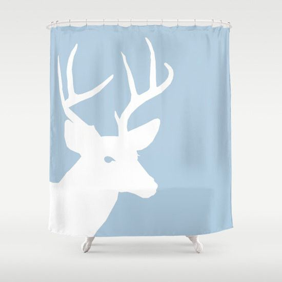 Deer Shower Curtain Light Blue White Art Bathroom Accessories Home Decor Bath Curtain Blue Bathroom Decor