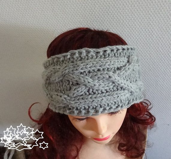 Handmade Knit Cable Headband Plait Gray or ANY COLOR by Ifonka