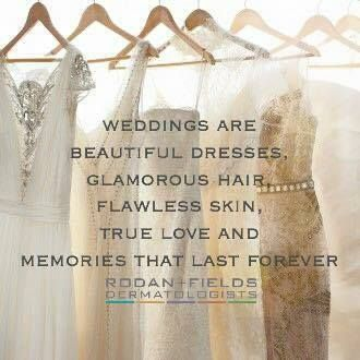 To All Brides - Weddings are Beautiful Dresses, Glamorous Hair, Flawless Skin, True Love and Memories that last Forever! Let me show you how Rodan+Fields could give you Flawless Skin on your Wedding Day. https://cfester.myrandf.com/