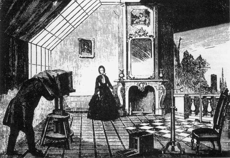 The interior of a carte-de-visite portrait studio