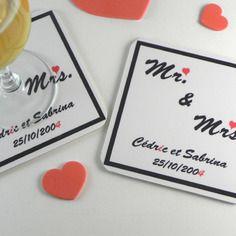 Sous bock personnalisable / marque place mariage st valentin mr & mrs décoration de table