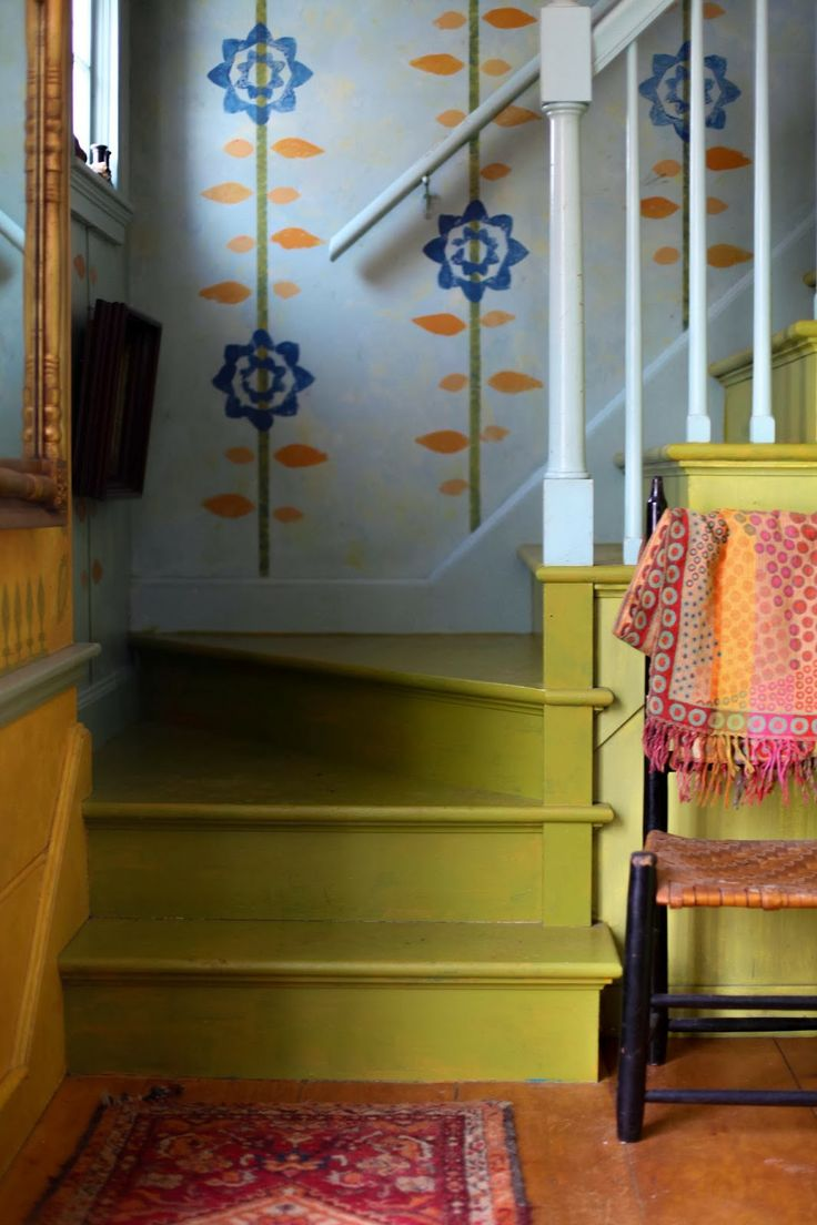 My colorwashed stairs. From Kristin Nicholas' Getting Stitched on the Farm. I have a tutorial on the website for how to colorwash a stairway.  http://getting-stitched-on-the-farm.blogspot.com/2014/03/colorwashing-our-farmhouse-stairs.html