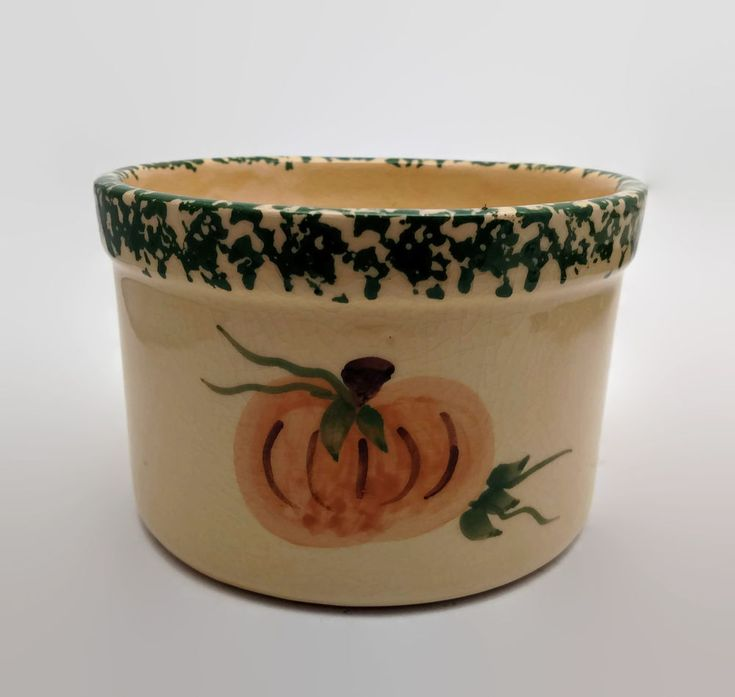 Alpine Pottery Roseville Ohio Spongeware Pumpkin Crackle Glaze Crock 1997 #AlpinePottery #Roseville #crackle #spongeware
