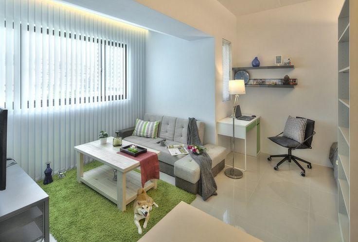 aménagement petit espace  salon avec une table basse et canapé d'angle