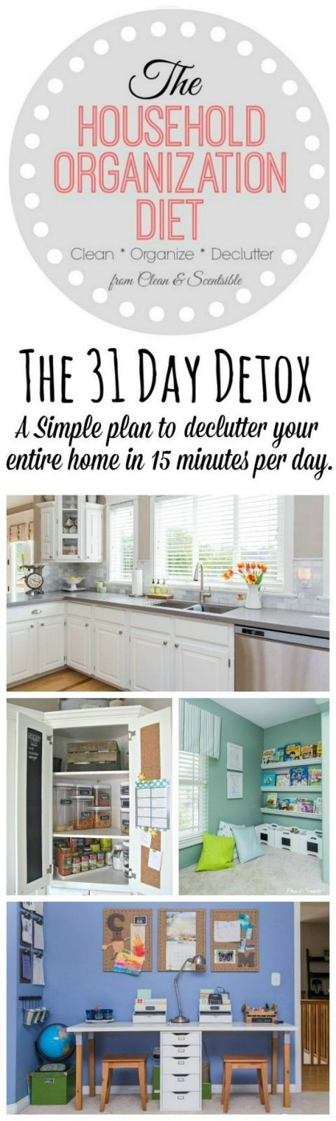 Easy 31 Day plan to declutter your home in 15 minutes per day! #declutteryourhome #tipstodeclutteryourhome