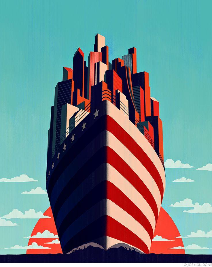 Joey Guidone - A New Horizon For America. Cover, Magazine, Poster, Americana, Ship, Cityscape, City, Flag