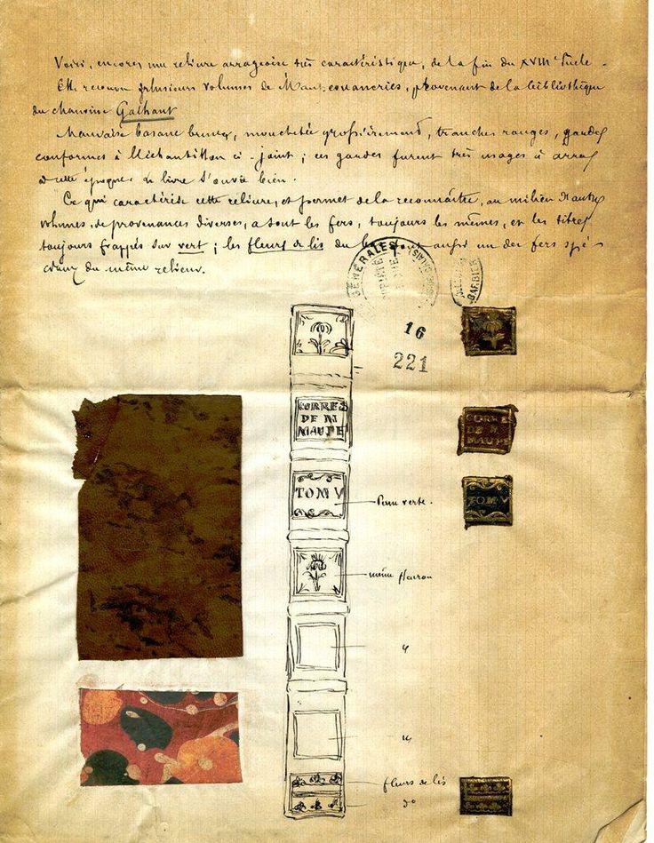 Document manuscrit dont la partie supérieure est composée d'un texte (transcription dans l'article), suivi du dessin du dos d'un livre composé de 7 vignettes détaillées et annotées. Des morceaux de cuir aux lettres dorées, équivalents au dessin, sont collés à côté, tout comme un morceau du cuir qui a servi à relier le livre et du papier qui a servi à habiller l'intérieur.