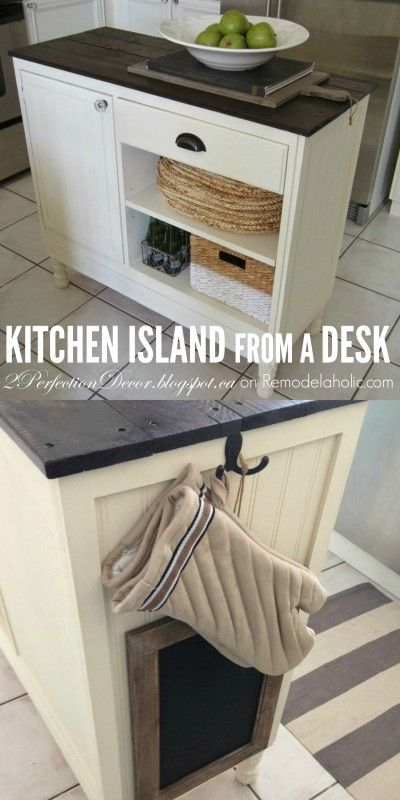 turn a vintage desk into a kitchen island with this stylish upcycle decor on would love a portable kitchen island