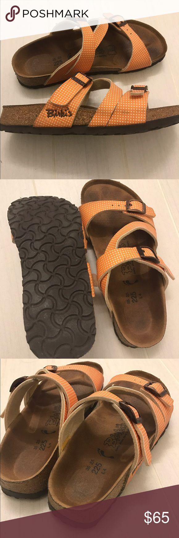 Orange Birkenstock 35 Birkenstock 35 made in Germany. Soft foot bedding. Good used condition. Birkenstock Shoes Sandals