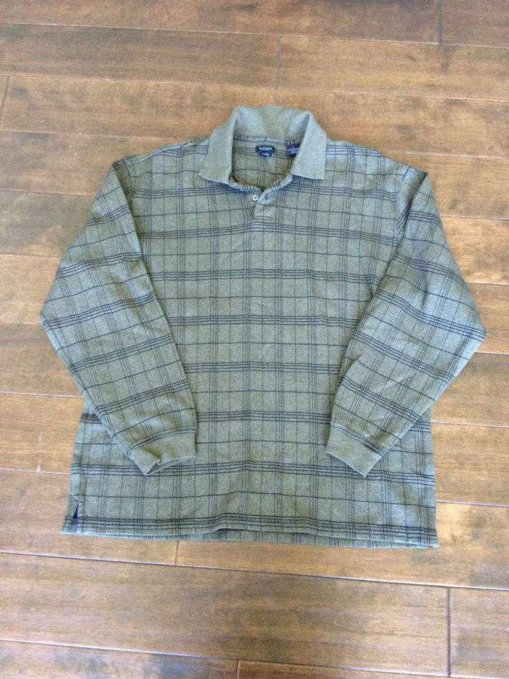 Van Heusen Studio Mens Long Sleeve Green Plaid Shirt Size