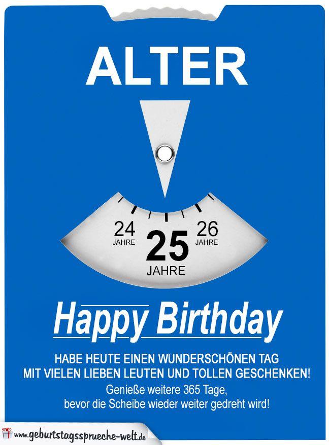 Geburtstagskarte Als Parkscheibe Zum 25. Geburtstag    Geburtstagssprüche Welt