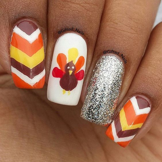 nails.quenalbertini: Thanksgiving Nail Art Design | Popsugar