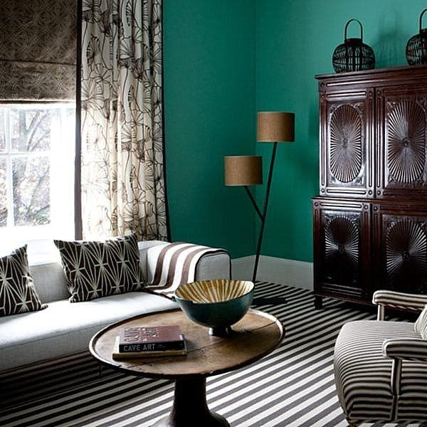 teal living room furniture ideas striped carpet gray sofa wooden cupboard vintage coffee table