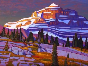 "¨Last Light on Nigel Peak¨ by Canadian Artist Nicholas Bott. 36"" x 48"" Acrylic on Canvas. #CanadianArt #Mountains #Landscape"