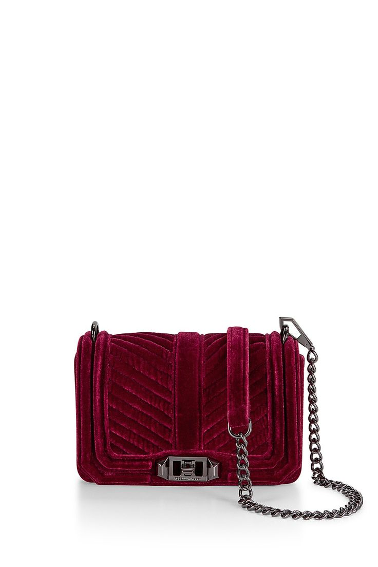 Chevron Quilted Small Velvet Love Crossbody - Meet your new going-out bag. Featuring eye catching hardware, the Love Crossbody is a match made in heaven with any outfit. Wear it crossbody or remove the chain strap to use it as a clutch.