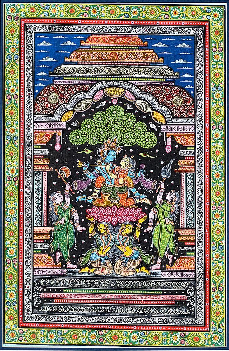 Lord Krishna romances Radha in Madhuban Pattachitra painting (via artreasurehk.com)