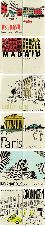 sketchbook of hand-drawn Google street views by Lehel Kovács